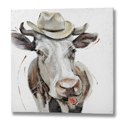 Hill Interiors Comedy Cow Oil Art Print Unwrapped on Canvas
