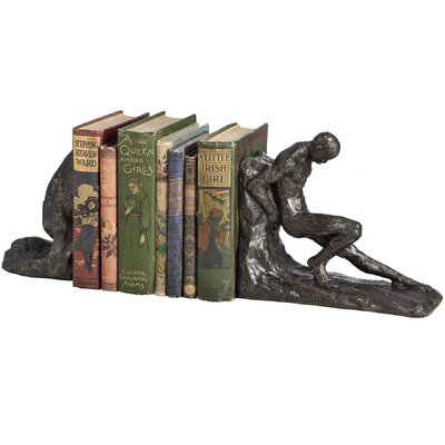 Hill Interiors Man Pushing Boulder Bookend
