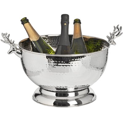 Hill Interiors Nickel Wine Cooler with Stag Handle