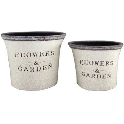 Hill Interiors Flowers and Garden 2 Piece Round Pot Planter Set