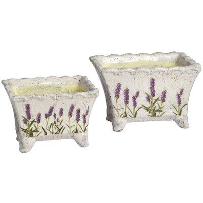 Hill Interiors Lavender 2 Piece Rectangular Planter Set