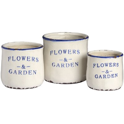 Hill Interiors Flowers and Garden 3 Piece Round Planter Set