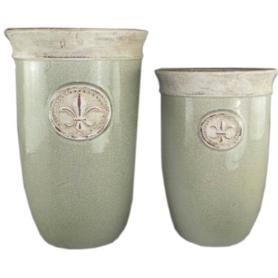Hill Interiors Fleur De Lys 2 Piece Round Pot Planter Set