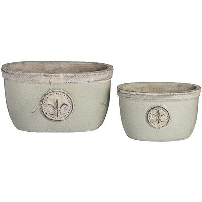 Hill Interiors Fleur De Lys 2 Piece Round Pot Planter Set