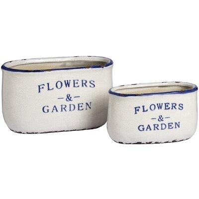 Hill Interiors Flowers and Garden 2 Piece Rectangular Planter Set