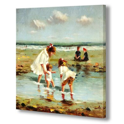 Hill Interiors Two Girls and Baby on Beach Art Print Wrapped on Canvas