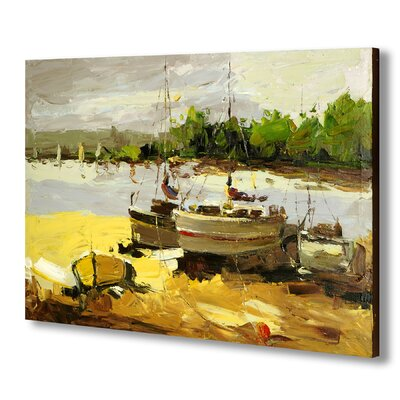Hill Interiors Boat at Lakeside Art Print on Canvas