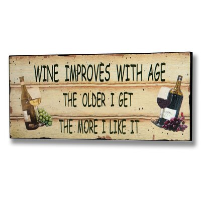 Hill Interiors Wine Improves with Age Typography Plaque in Beige