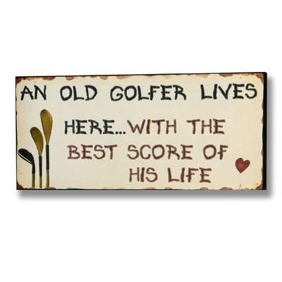 Hill Interiors Old Golfer Typography Plaque in Beige