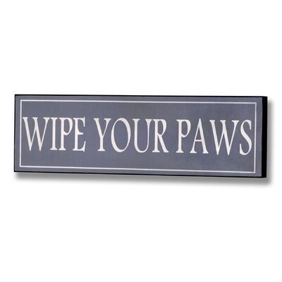 Hill Interiors Wipe Your Paws Typography Plaque in Blue