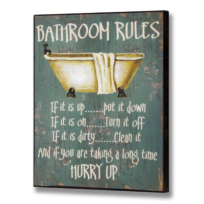 Hill Interiors Bathroom Rules all Typography Plaque in Green