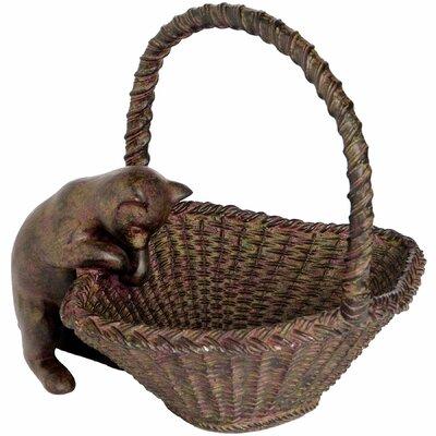 Hill Interiors Peering Cat and Basket Figurine