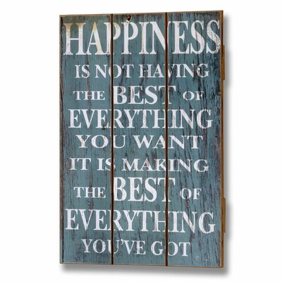 Hill Interiors Happiness Plank Style Typography Plaque in Blue