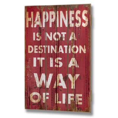 Hill Interiors Happiness Is Not a Destination Plank Style Typography Plaque in Red