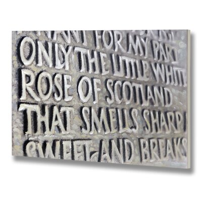 Hill Interiors The Little White Rose of Scotland Typography on Canvas in Grey