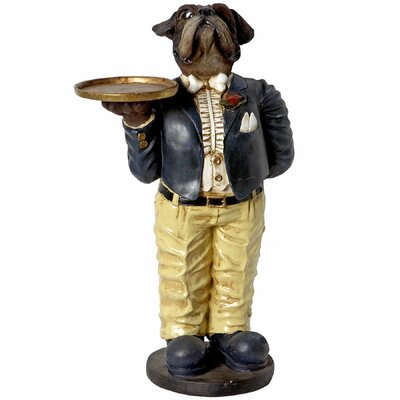 Hill Interiors Bull Dog Waiter with Tray Statue