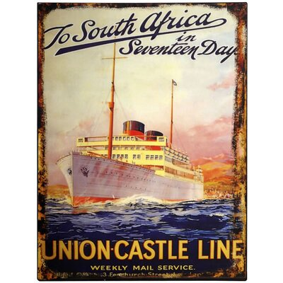Hill Interiors Union Castle Line Vintage Advertisement Plaque