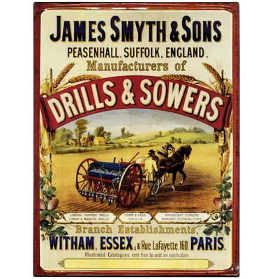 Hill Interiors James Smyth and Sons Drill's and Sowers Vintage Advertisement Plaque