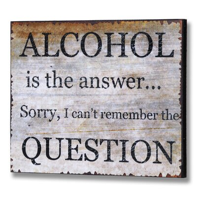 Hill Interiors Alcohol Typography Plaque in Grey
