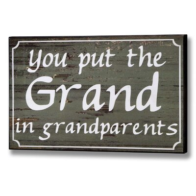 Hill Interiors Grandparents Typography Plaque in Green