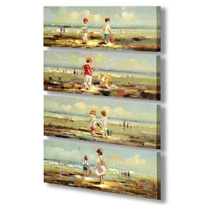 Hill Interiors Children on Beach 4 Piece Art Print Wrapped on Canvas Set