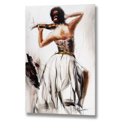Hill Interiors Lady Playing the Violin Original Painting on Canvas
