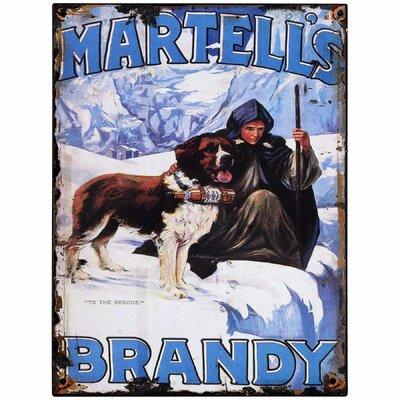 Hill Interiors Martells Brandy Vintage Advertisement Plaque in Blue