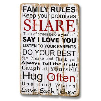 Hill Interiors Family Rules Plank Style Typography Plaque