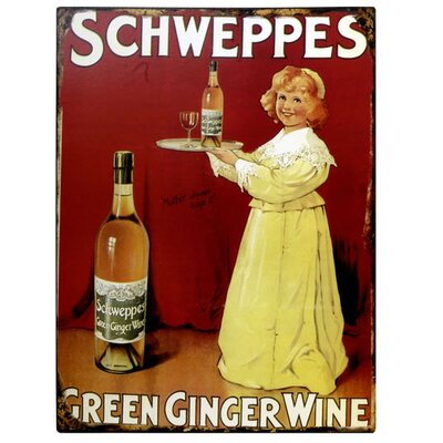 Hill Interiors Schweppes Green Ginger Wine Vintage Advertisement Plaque