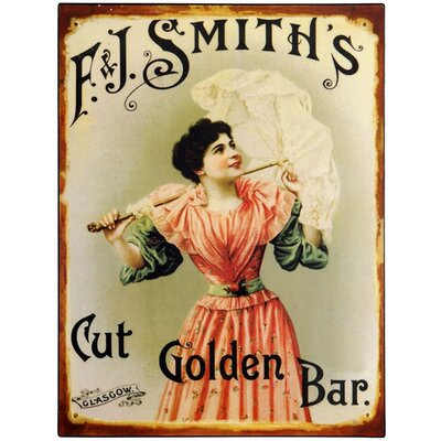 Hill Interiors F J Smith's Cut Golden Bar Vintage Advertisement Plaque