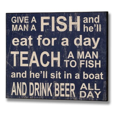 Hill Interiors Teach Man to Fish Typography Plaque in Blue