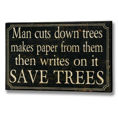 Hill Interiors Save Trees Typography Plaque in Black