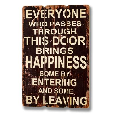 Hill Interiors Brings Happiness Through the Door Typography Plaque in Brown