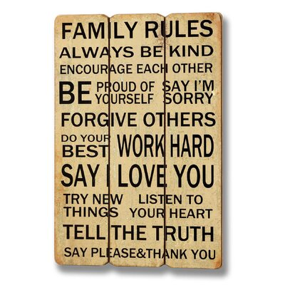 Hill Interiors Family Rules Typography Plaque in Beige