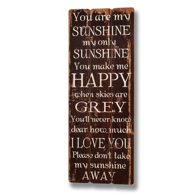 Hill Interiors Sunshine Typography Plaque in Brown