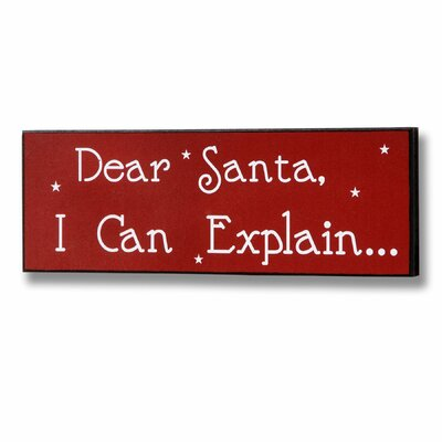 Hill Interiors Dear Santa Christmas Typography Plaque in Red