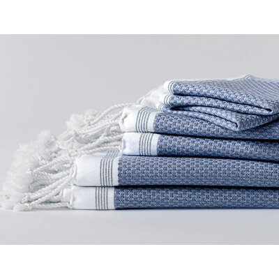 Mediterranean Guest 100% Cotton Hand Towel Color: Lake with sea spray stripe