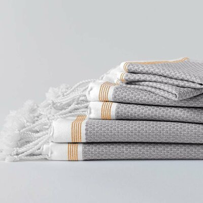 Mediterranean 100% Cotton Hand Towel Color: Deep Pewter with Tangerine