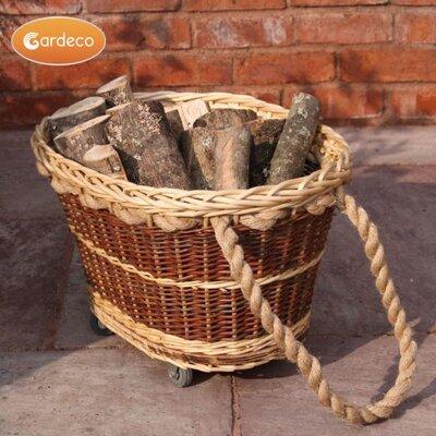 Gardeco 2 Piece Wicker/Rattan Basket Set with Wheel Log Rack