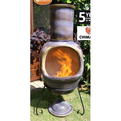 Gardeco Asteria Metal and Clay Wood Chiminea