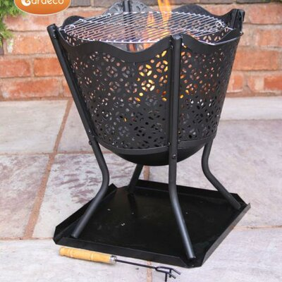 Gardeco Canasta Steel Fire Pit with Tray and BBQ Grill