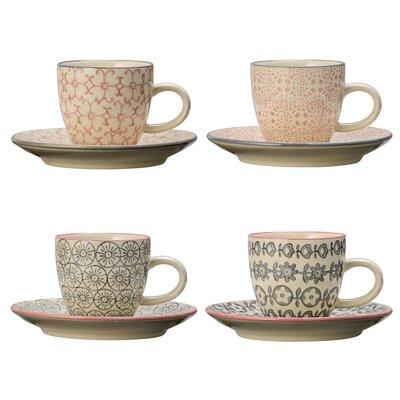 Bloomingville Cecile 8 Piece Espresso Cup and Saucer Set