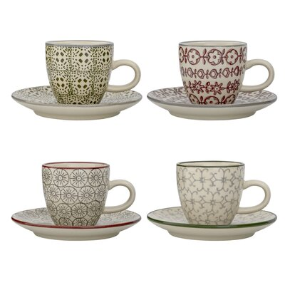 Bloomingville Karine 8 Piece Expresso Cup and Saucer Set