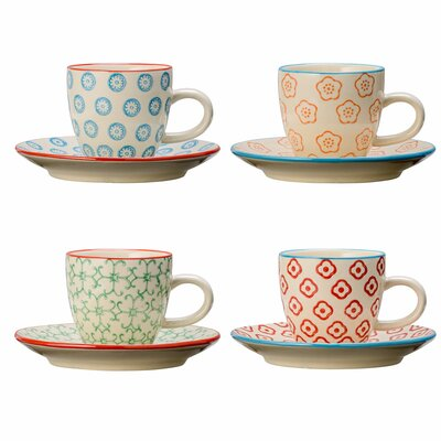 Bloomingville Emma 8 Piece Espresso Cup and Saucer Set