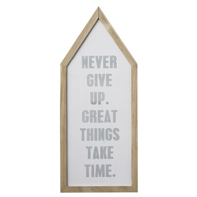 Bloomingville 'Never GIve Up...' Framed Typography