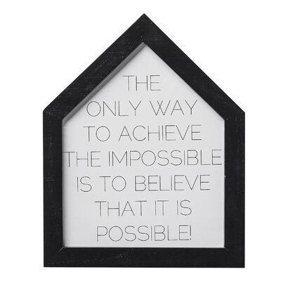 Bloomingville 'The Only Way....' Framed Typography