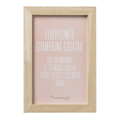 Bloomingville 'Recipe Cocktail' Framed Typography
