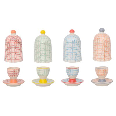 Bloomingville Carla 8 Piece Egg Cup with Domed Lid Set