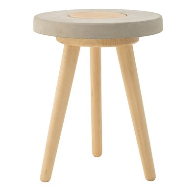 Bloomingville Concrete Seat Stool with Rubberwood