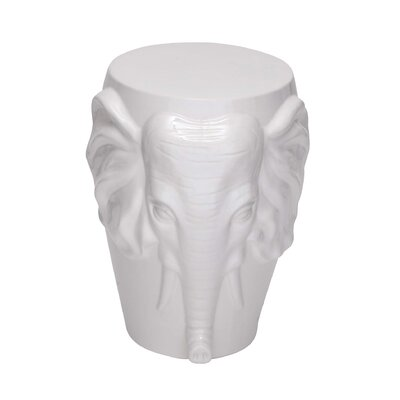Marko Ceramic Elephant Accent Stool Color: White